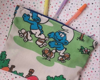 Smurfs original vintage 80s cartoon style upcycled zipper topped pencil pouch case make up bag