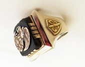 Vintage Mexican Biker Ring Sterling Silver Mexico, Eagle and Snake with Fleur de Lis on Sides Size 8