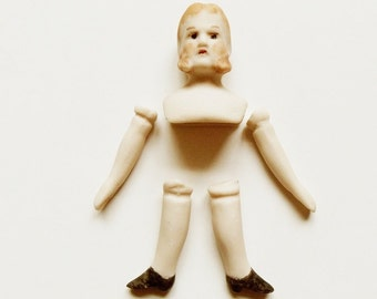 Small Porcelain Doll Head Arms Legs Vintage Man with Mutton Chops