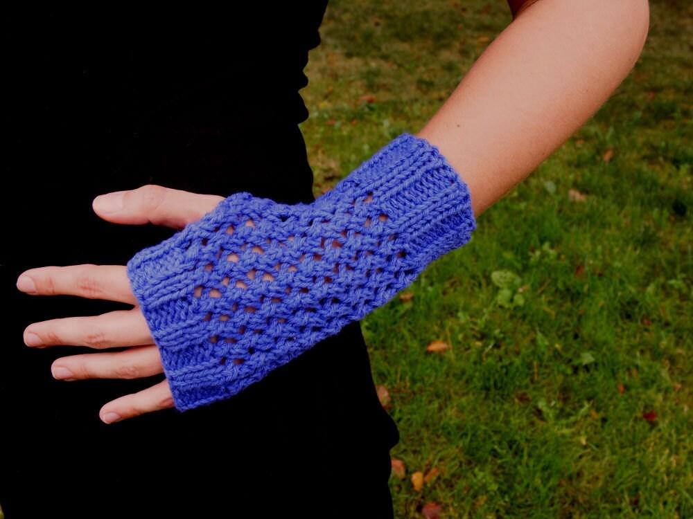 Purple Cotton Knit Texting Gloves Knit Fingerless Mittens