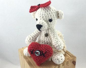 Amigurumi valentine bear - crocheted bear and heart - crocheted pincushion - nursery decor
