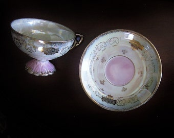 Vintage Pink Luster Cup And Saucer Set - Iridescent Opalescent China - Footed Gilt Gilded Teacup -  Shabby Cottage Boho Chic Home Decor