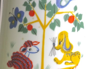 Summersale Vintage German Porcelain Pitcher with Animal Decals