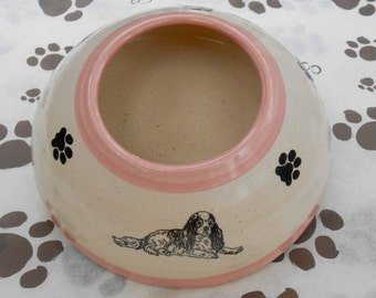 ADVANCE ORDER: Cavalier Spaniel Ear Bowl with Pink Stripes