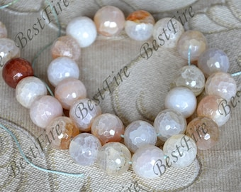 Single faceted Round Agate Beads ,agate stone beads loose strands,agate beads findings
