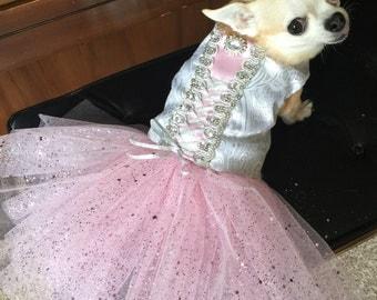 Cinderella, wedding ballerina, tutu dog dress, flower girl,  bride dog dress, princess dog dress, fancy holiday dog, Christmas