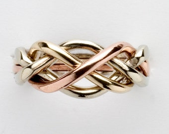 Ladies Four Band Sterling Silver or Gold Puzzle Ring 4L