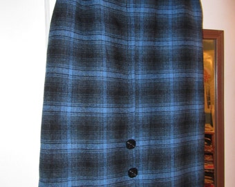 "100% PENDLETON WOOL Black and Blue Plaid Skirt Hand Tailored 25"" waist"