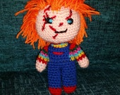 "crochet doll chucky  6"" sci-fi geek retro childs play villain vegan amigurumi handmade horror"