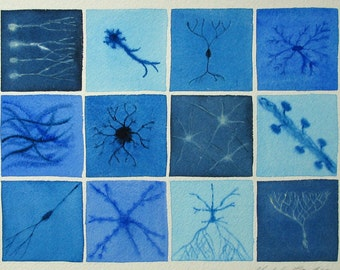 Blue Brain Cells 17 - original watercolor painting - neurons