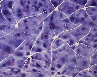 Purple Batik Neuron Field - original watercolor of brain cells