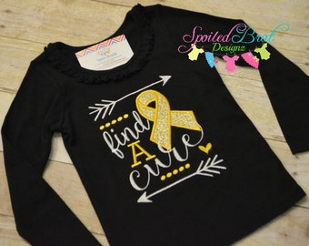 Find a Cure Embroidered Tee, Custom made to order, Baby Girls or Girls, Cute Sayings, Childhood Cancer Awareness or Breast Cancer Awareness