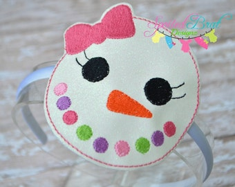Snowgirl Face Headband, Girls or Toddler Girls, Perfect for the Holidays and Christmas,  Made to Order