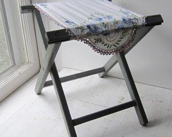 Folding Camp Stool with Vintage Embroidered Linen  - Blue/Gray Shabby Chic Stool / Small Table