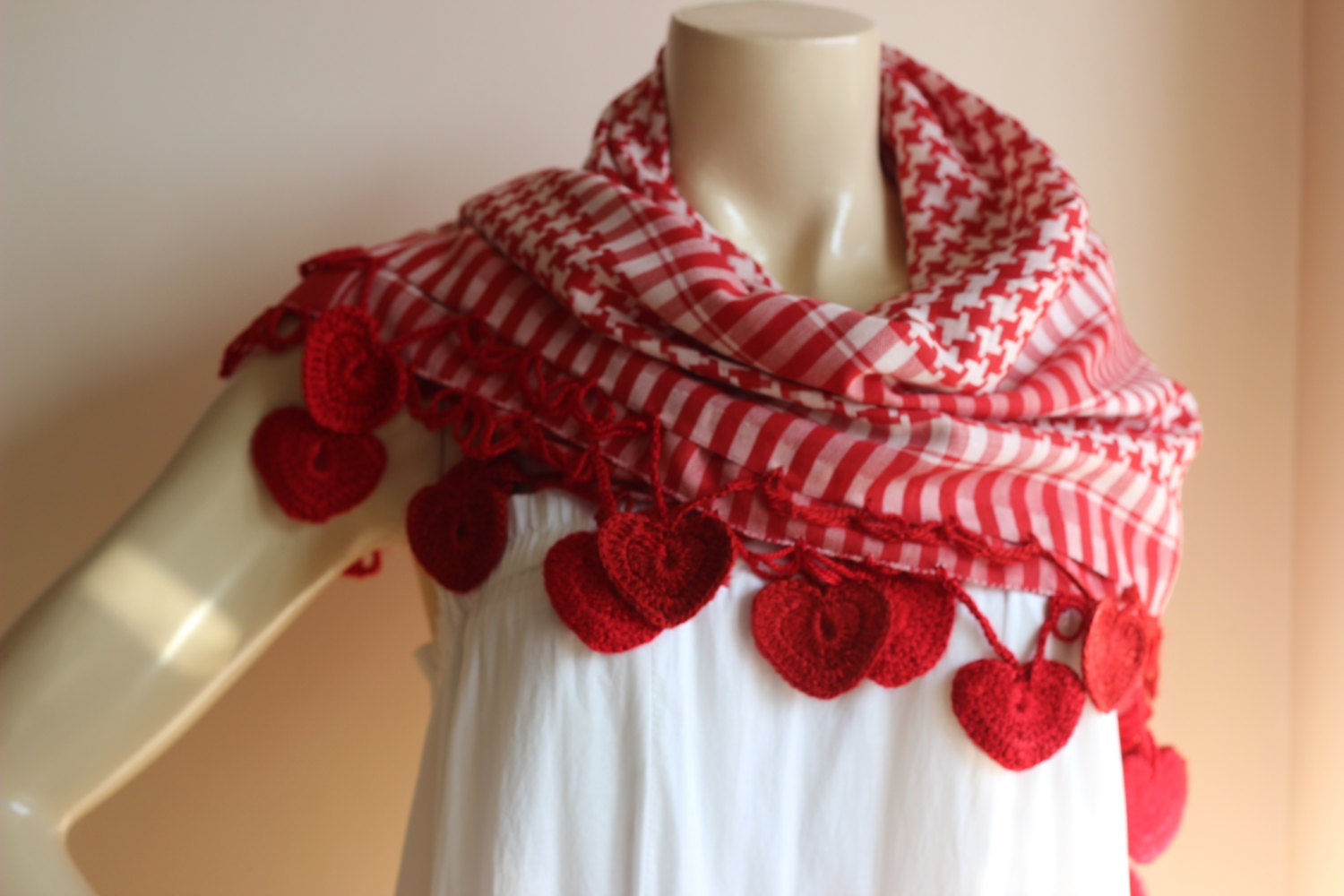 heart scarf shegma scarf white and red square scarf with hand crochet lace edges