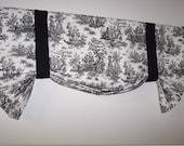 Custom Toile Tie Up Valance, Black White Toile or Gray White Toile