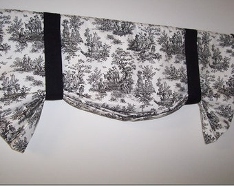 Custom Toile Tie Up Valance, Black White Toile or Gray White Toile