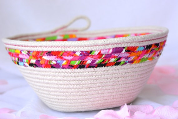 Natural Rope Basket, Handmade Fiber Basket, Brush Holder, Makeup Organizer, Coiled Fabric Basket, Bathroom Decor