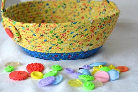 Baby Easter Basket, Handmade Boy Yellow Easter Bucket, Boy Storage Organizer, Easter Decoration, Boy Easter Hunt Egg Basket