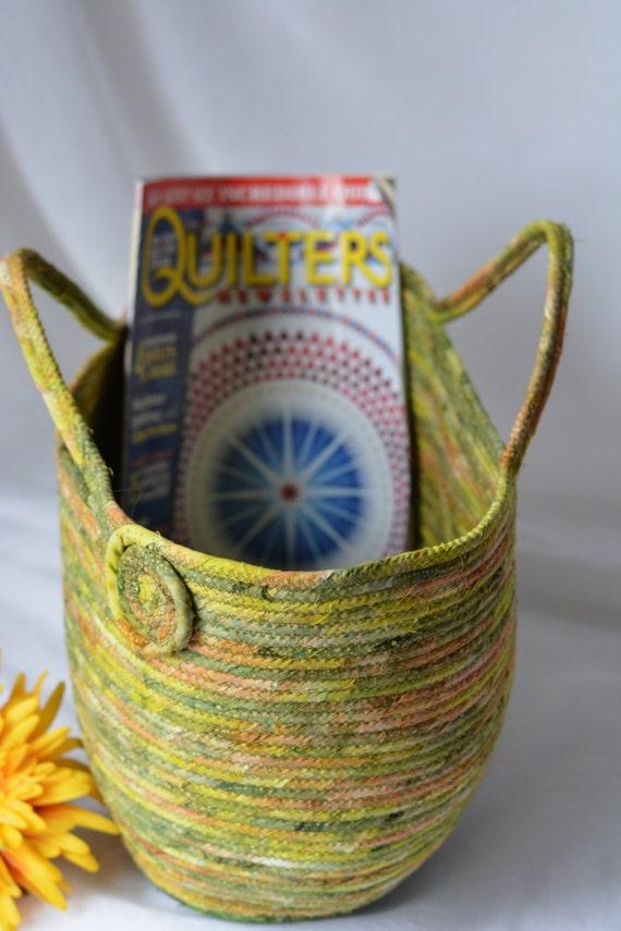 Artisan Batik Basket, Green Tote Bag, Handmade Moss Green Batik Tote, Knitting Yarn Bag, Project Bag with handles, Bali Fabric Moses Basket