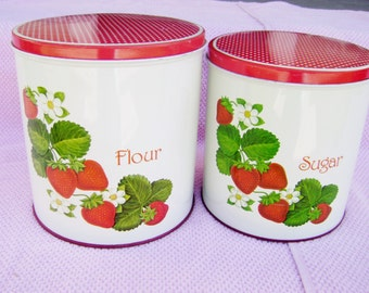 Vintage Metal Canisters - Strawberries