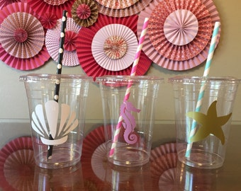 Mermaid inspired plastic cups 20 cups (16oz) ... Shell, seahorse,  starfish... Great for parties, birthdays, celebrations