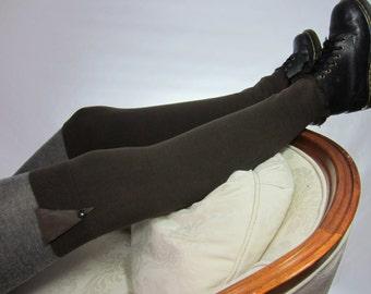Thigh High BOOTS SOCKS Over The Knee Socks Leg Warmers Leather Trim Dark Brown Legwarmers A1607-L