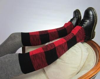 Knee High Boot Socks Leg Warmers Black Red Buffalo Plaid Cotton Knit A1564