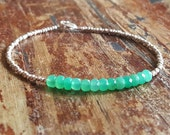 Chrysoprase Bracelet Beaded Bracelets May Birthstone Bracelet Jewelry Womens Gift for Women Silver Bead Bracelet Girlfriend Best Friend Gift