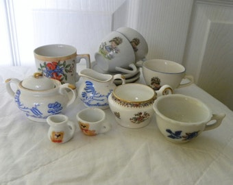 Collection of Old Miniature China - Miniature Cups and Bowls - Childs Teaset - Coalport Bone China Miniature Cup