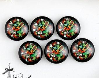 10PCS 12mm 20mm 25mm 30mm ( 25mm Flat )Handmade Photo Glass Cabochon -Image Glass Cabochon- Flowers- (HPGC-177-6)