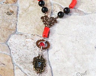 Crystal and Natural Coral Necklace