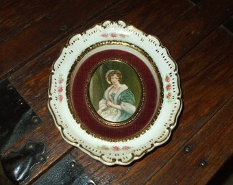 "Cameo Creation Porcelain Portrait Victorian Style Ornate Hand Painted Roses Frame Plaque 7 1/2"" x 6"""