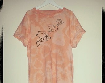 Origami Animal. Acid wash, tye dye. Crew neck tee