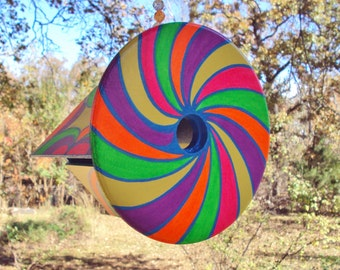 Handpainted Spiral Design Birdhouse/Bright Colors