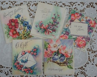 Vintage Gift Tag Greeting Cards Lot of 5 Unused With Envelopes