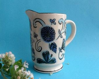 Vintage Holt Howard Creamer Blue White Black Floral Individual 1960s Coffee Creamer Pitcher