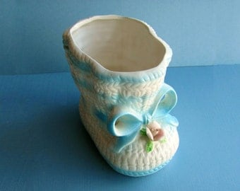Baby Planter Nancy Pew Giftwares 7219  Ceramic Baby Bootie Blue And White Sock Shower Centerpiece New Baby Gift Succulent Planter