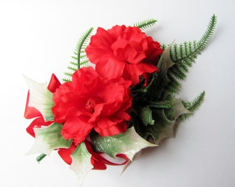 Vintage Christmas Corsage Plastic Holly Leaves Glitter Red Fabric Flowers And Ribbon Ugly Sweater Accessory
