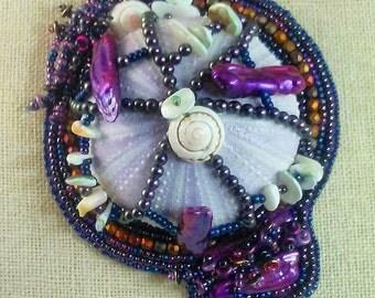 A Sea Urchin in Lavender Bead Embroidered Pendant sea shells,biwi pearls