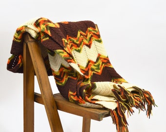 Vintage Afghan 1970s Chevron Stripe Hand Knit Throw Zigzag Stripe with Tassle Fringe Brown Orange and Yellow Small Afghan Throw
