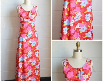 Vintage 1960s 1970s Floral Maxi Dress Bright Bold Red with Pink and Blue Flowers Size XS Xtra Small