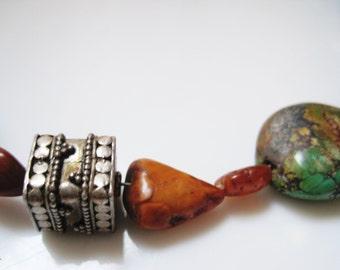 Gem Choker, Turquoise and Amber, Bali Silver Bead, Petite Choker Necklace, Stone Choker