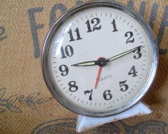Vintage Alarm Clock, Antique Clock, Enamel Alarm Clock, White Alarm Clock
