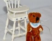 "Miniature bear & highchair for dollhouse 1"" scale mini bib hearts Mattel 2000 white baby bib pretend play"