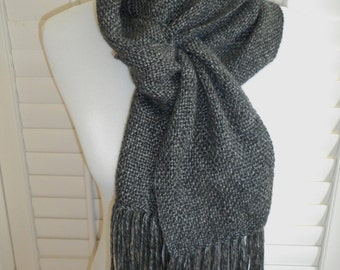 Handwoven Scarf - Grey Scarf - Winter Scarf - Neck Warmer - Plain Weave Scarf - Long Scarf with Fringe - Fashion Scarf - Ready to Ship