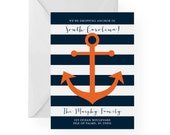 Nautical Anchor New Address Announcement, Navy and White Stripes, Dropping Anchor with Custom Colors and Text