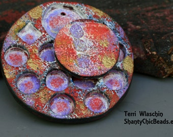 Handmade  Poly Clay RUSTIC WHEEL Pendant - Painterly reds, lavender and metallic
