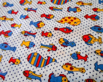 Fish Print Fabric, 1 yd Fabric Remnant, Sewing Supplies, Novelty Print Sewing Material