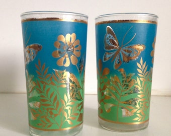 Vintage Blue & Gold Butterfly Glasses
